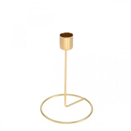 Lysestake gullborddekorasjon metall for stavelys Ø10cm H15cm