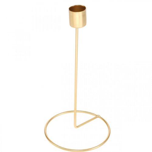 Lysestake gull metall dekorasjon pinne lysestake Ø10cm H20cm