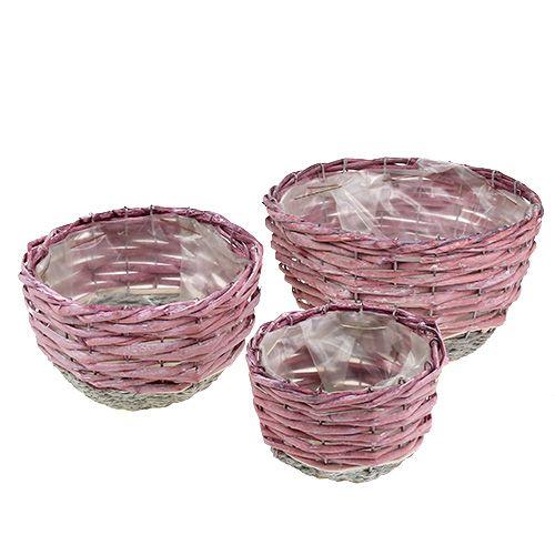 Kurv rund sett med 3 Ø14cm - 24cm rosa, naturlig