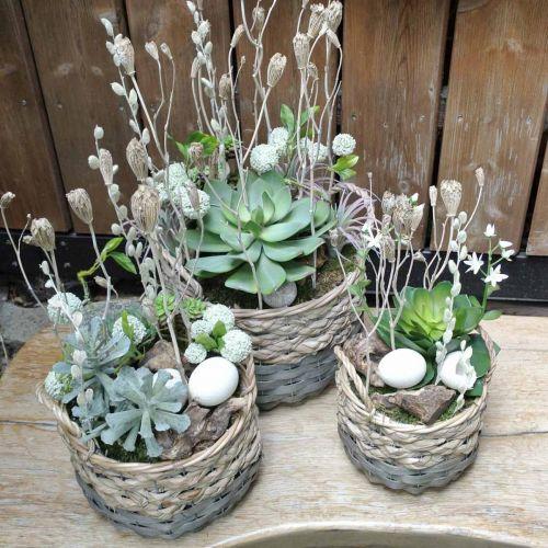Vevd kurv oval planter naturlig, grå 29 / 24cm, sett med 2
