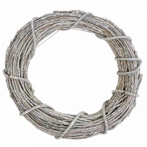 Deco krans hvitkalket naturlig krans dørkrans Shabby Chic Ø42cm