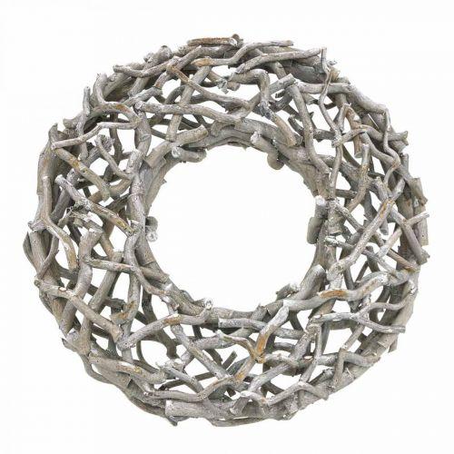 Dekorativ kransetre, kalket grå, naturlig kransborddekorasjon Ø50cm