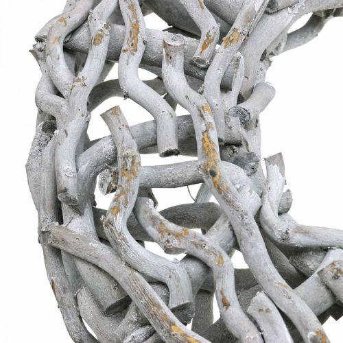 Dekorativ kransetre og kvister kalket grå trekrans stor Ø60cm