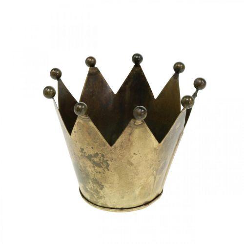 Kronemetall antikk utseende messing telysholder Ø10cm H8cm