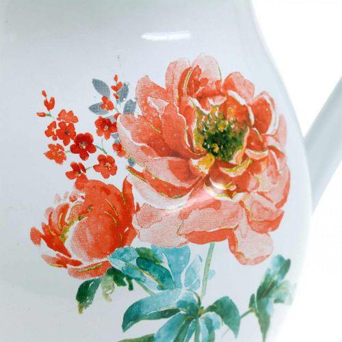 Dekorativ krukke, blomstervase vintage look, emaljekanne med rosemotiv H19cm