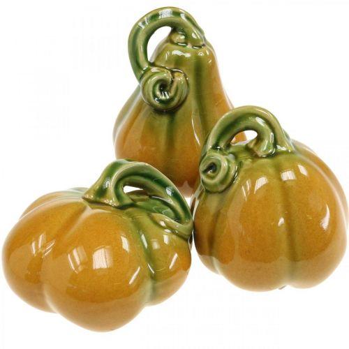 Dekorativ gresskarkeramikk, oransje, grønn diverse H7.5 / 10 / 11cm 3 stk