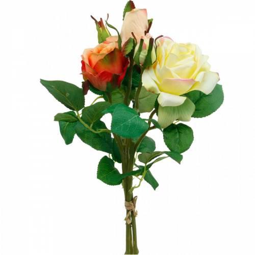 Kunstige blomster, bukett med roser, borddekorasjoner, silkeblomster, kunstige roser gul-oransje