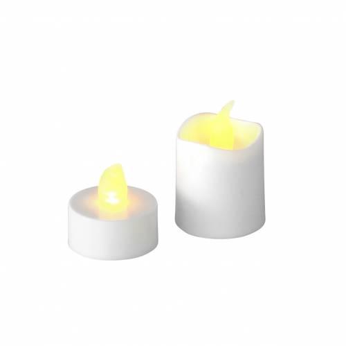 LED telyslys varmhvit flammeeffekt sett med 16 forskjellige 32 batterier