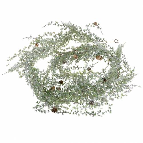 Lerkekrans kransgrønn / iset med kjegler 180cm