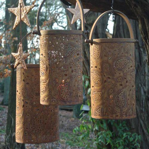 Lanterne av metall med patina, sommerdekorasjon, lyktesett med paisley-mønster Ø20 / 19 / 14cm H23,5 / 17 / 12,5cm