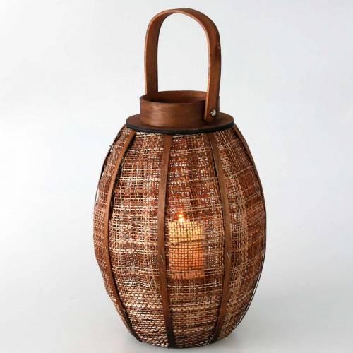 Flettet lanterne, stearinlysdekorasjon, trelykt med håndtak Ø25cm H34,5cm