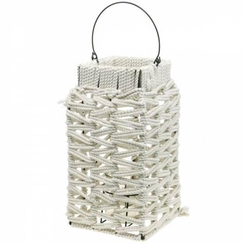 Lykt med håndtak, stearinlysdekorasjon med makramé, lampeskjerm med flettet mønster H35,5cm