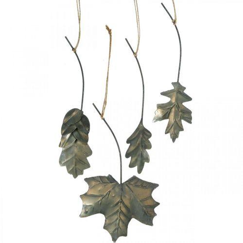 Blader metall å henge antikke grå høstløv 7,5-10cm 4stk