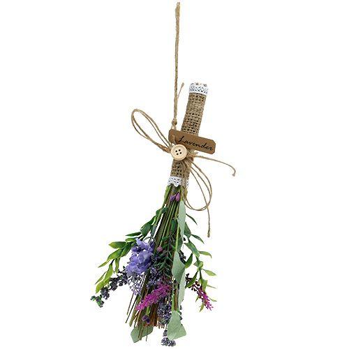 Kunstig lavendel haug med urter 23cm