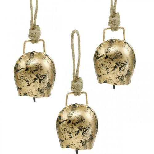 Klokker å henge, mini cowbells, country house, metal bells golden, antikt utseende 7 × 5cm 12stk