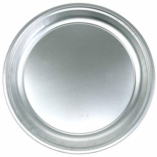 Metallplate Basic sølvblank Ø45,5cm H4cm