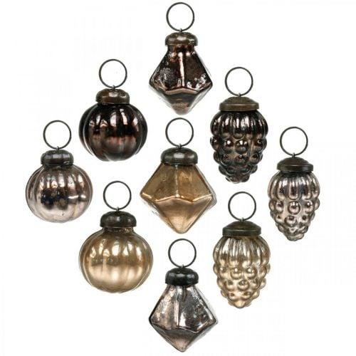 Mini julekuler, diamant / ball / kjegle, glass anheng blanding antikk utseende Ø3–3,5cm H4,5–5,5cm 9stk
