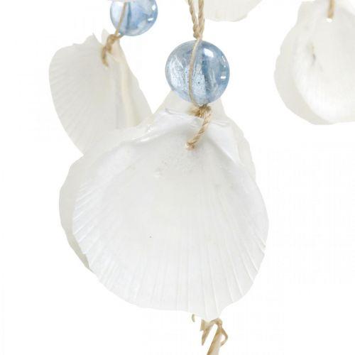Mobile skjell vindklokker maritim dekorasjon for hengende hvit, blå 46cm