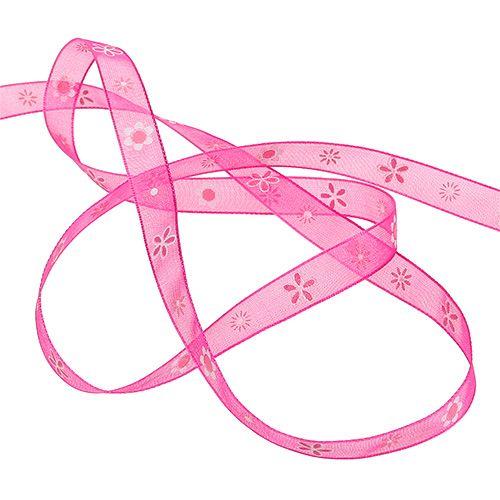 Organzabånd rosa med mønster 10mm 20m