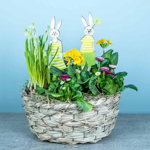 Planter laget av høy, dekorativ kurv, plantekurv, oval blomsterkurv, sett med 3