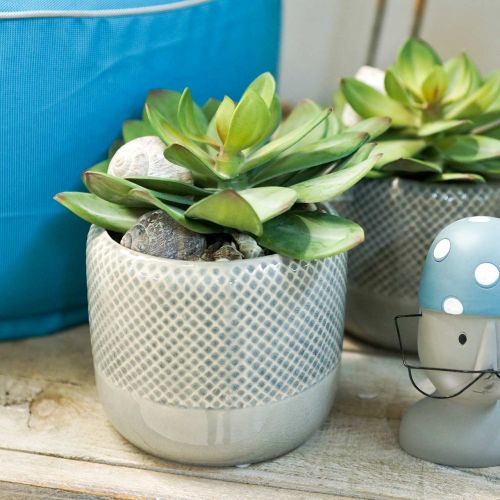 Keramisk planter, flettet mønsterpotte, keramisk pot Ø13cm 3stk