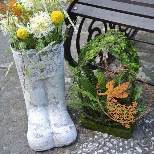 Planter støvler bie metall hvit vintage hagedekorasjon H31cm