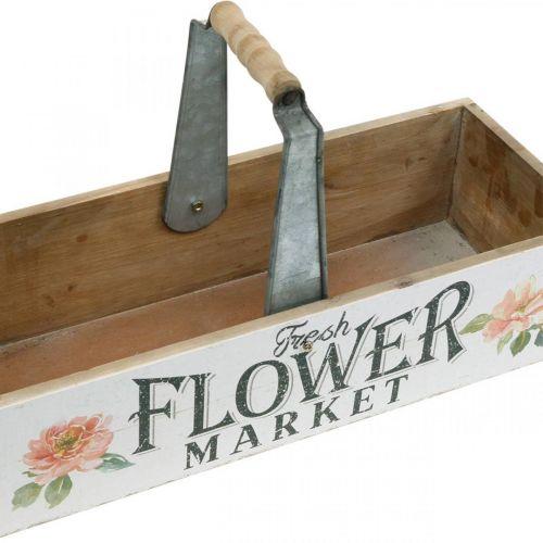 Planteboks, blomsterdekorasjon, trekasse for planting, blomsterboks nostalgisk utseende 41,5 × 16cm