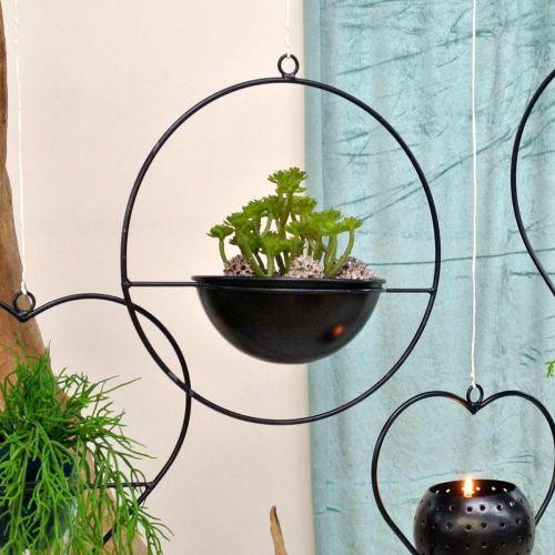 Plantegryte for hengende svartmetallring Ø38cm med bolle Ø15cm