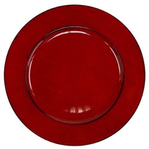 Plastplate Ø33cm rød-svart