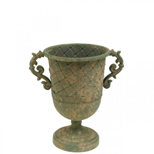 Kopp for beplantning, kalk med håndtak, metallkar antikk utseende Ø15,5cm H23,5cm