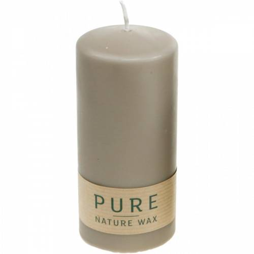 Ren søyle lys brun 130/60 naturlig vokslys bærekraftig stearin og raps