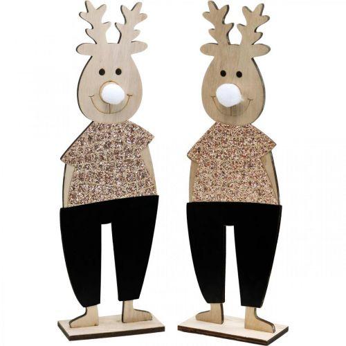 Reinsdyr deco figurvisning jul 12 × 6,5 cm H45 cm 2 stk