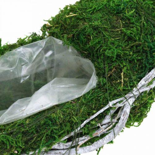 Moss kranseplantering med vinstokker og mosegrønn, hvit Ø35cm