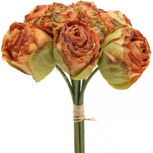 Rosebunke, silkeblomster, kunstige roser oransje, antikt utseende L23cm 8stk