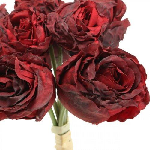 Kunstige roser røde, silkeblomster, rosebunke L23cm 8stk