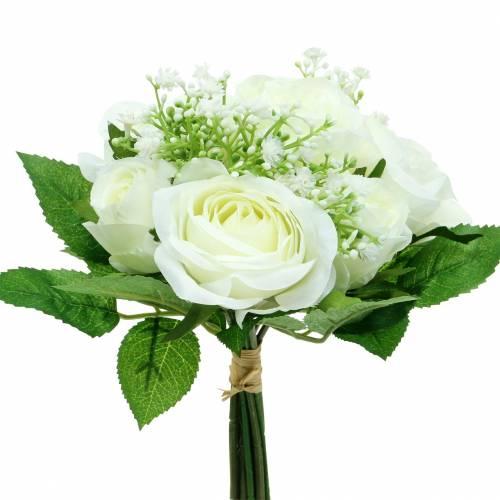 Bukett med roser med gypsophila hvit 26cm
