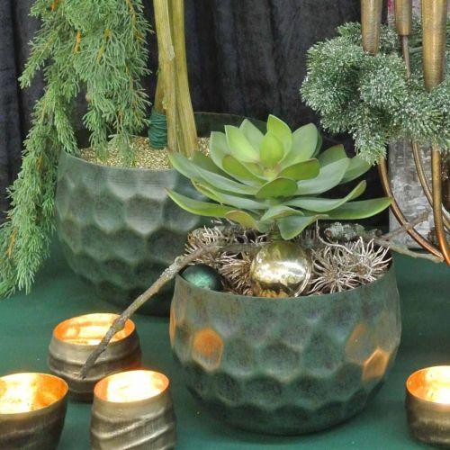 Dekorativ bolle metallgrønn vintage planter Ø25 / 20,5 / 16,5 cm sett med 3