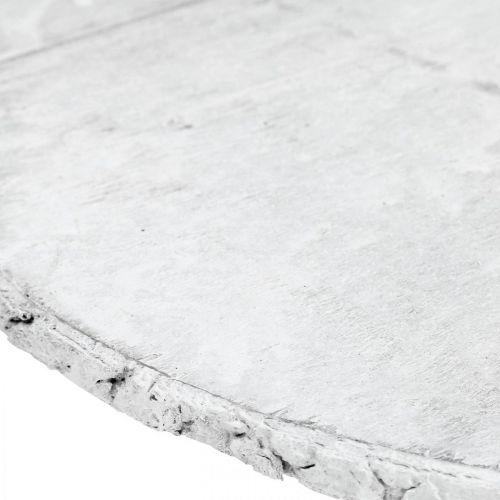 Deco treskive vintage borddekorasjon hvit kryssfiner Ø25cm