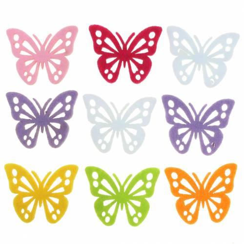 Felt Butterfly Table Decoration Assortert 3,5 × 4,5cm 54 stykker Ulike farger