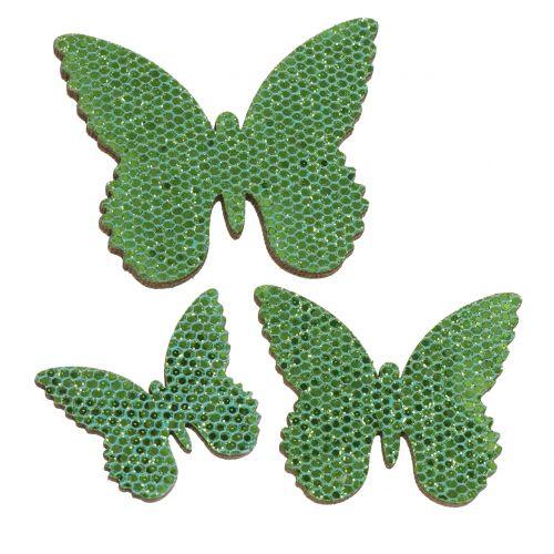 Dryss dekorasjon sommerfuglgrønn glitter 5/4 / 3cm 24stk