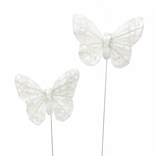 Fjærsommerfugl med ledning hvit, glitter 5cm 24stk