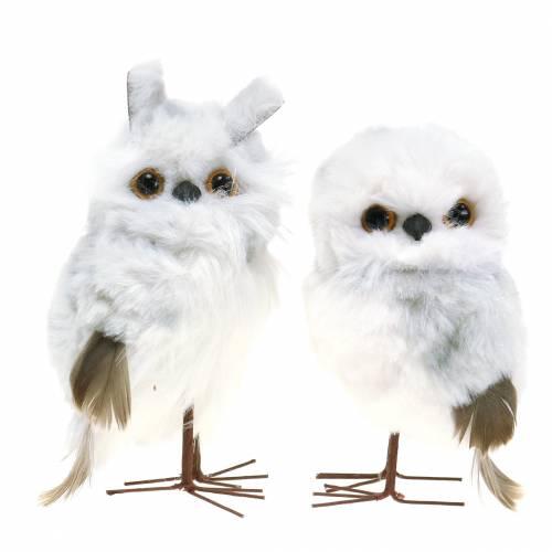 Snøugler å henge hvite 12cm 2stk