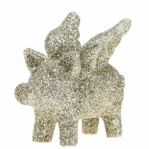 Dekorativ gris med vinger gullglimmer 6cm