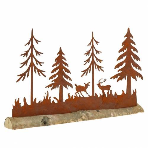 Skogsilhuett med rustfritt ståldyr på trebunn 30cm x 19cm