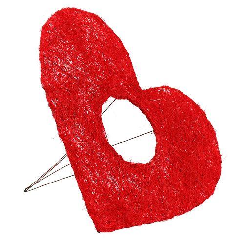 Sisal hjerte mansjett 25cm rød 10stk