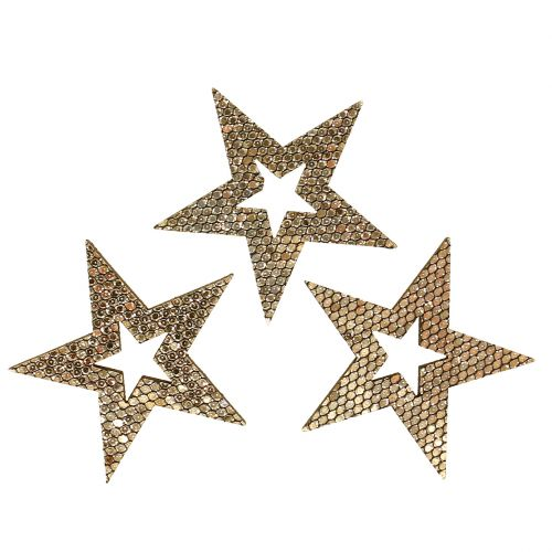 Wood star gull dryss dekorasjon 4cm 48stk