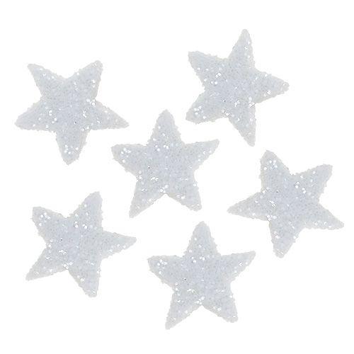 Stjerneglitter 1,5 cm for sprinkling av hvite 144 stk