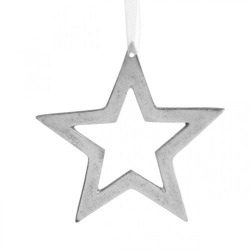 Stjerne for hengende sølv aluminium julepynt 15,5 × 15 cm
