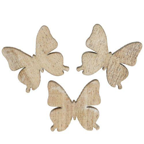 Spredt dekor sommerfugl tre natur 2cm 144p