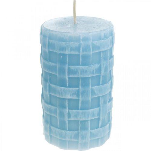 Vokslys kurvmønster, søylelys, stearinlys Rustikk lyseblå 110/65 2stk